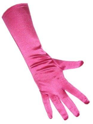 Handschoenen satijn stretch luxe 40 cm roze