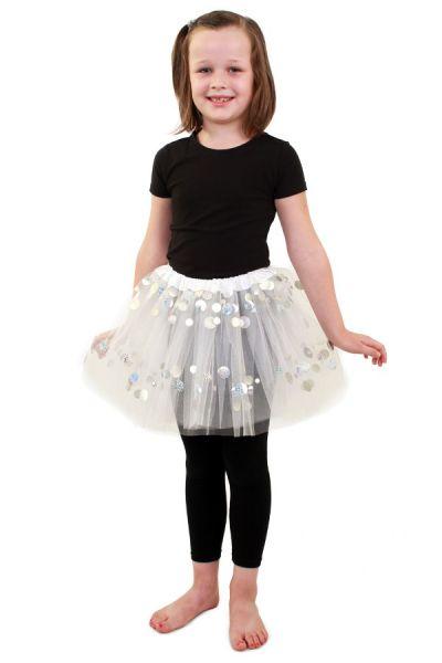 Tule kleedje wit met dots meisjes