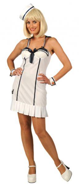 Carnavalskledij stoute matroos marine dame wit kleedje