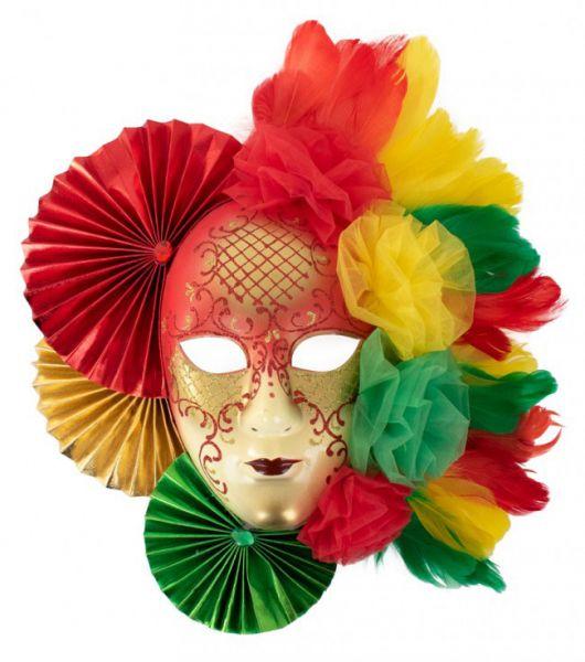 Carnavalsdecoratie masker rood geel groen