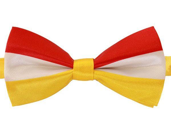 Luxe vlinderstrik rood wit geel