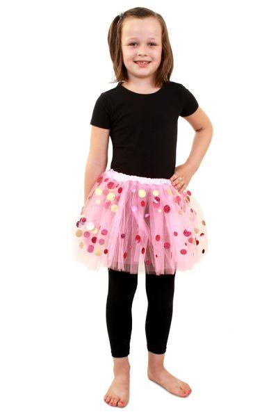 Tule kleedje roze met dots meisjes