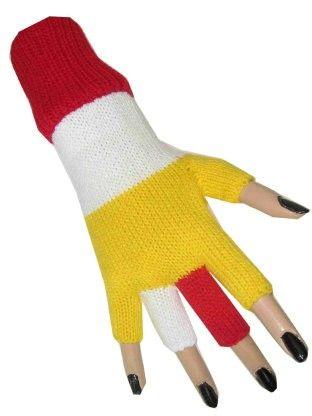 Vingerloze handschoen rood wit geel