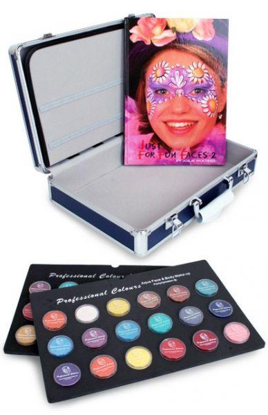 Schminkkoffer met 36x10g schminkpotjes en schminkboek