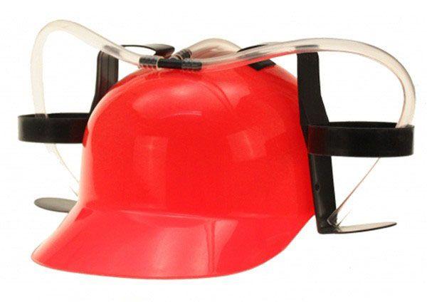 Rode helm met 2 bierfleshouders