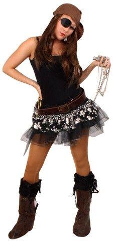Tule kleedje piraat zwart zilver