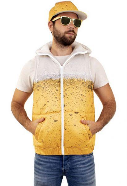 Bier gewatteerd vest met capuchon voor dames en heren vrijgezellenkostuum carnaval