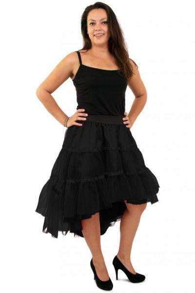 Zwarte petticoat schuin aflopend