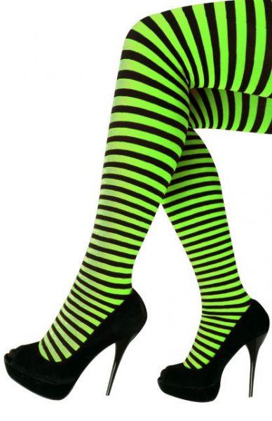 Panty met groene zwarte strepen