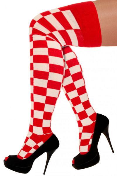 Lange sokken rood wit geblokt