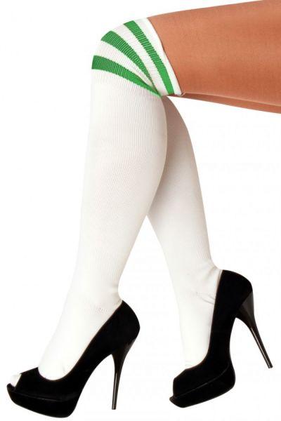 Lange kniekousen wit met 3 groene strepen