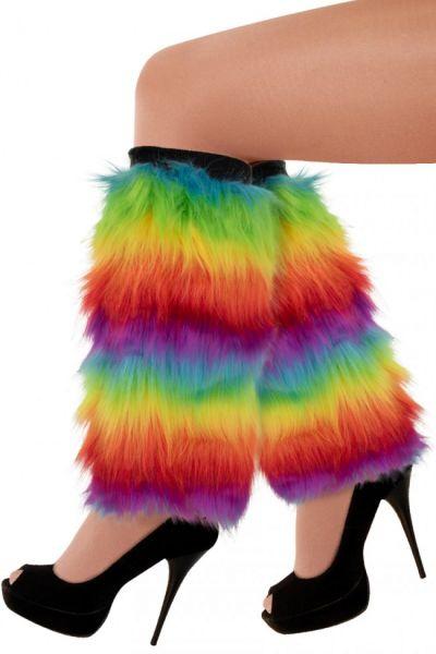 Beenwarmers regenboogkleuren pluche