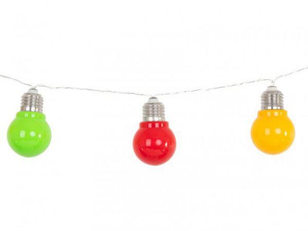 Carnavalsversiering lichtsnoer E27 10 lamps rood geel groen