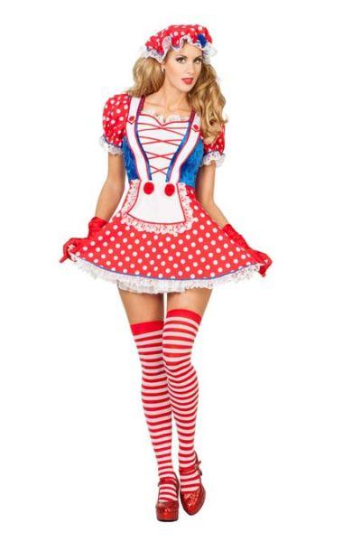 Sexy Carnaval kleedje met noppen rood wit
