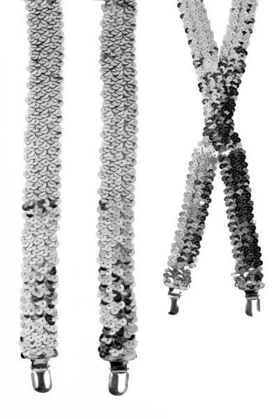 Bretels pailletten zilver