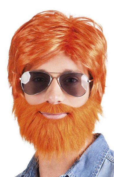 Pruik met baard oranje Dude