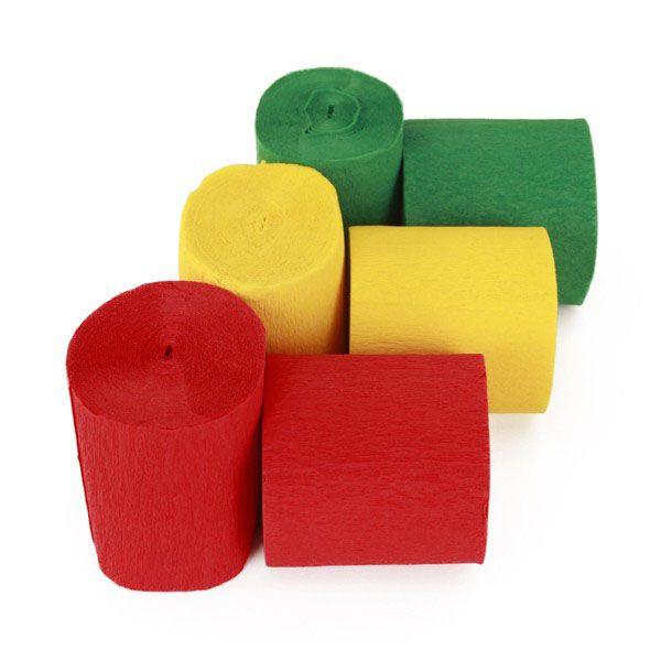 Crepe rollen rood geel groen brandveilig