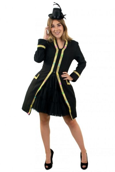 LED jas voor dames carnavalsjas met goud biezen