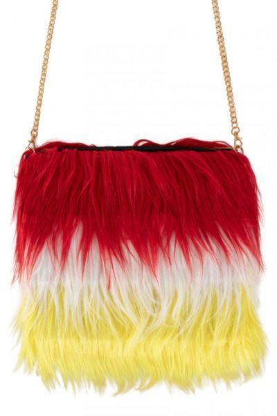 Tas rood wit geel lang pluche