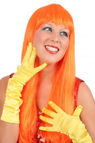 Damespruik trendy lang oranje haar