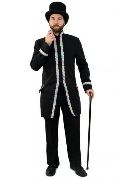 LED jas voor heren carnavalsjas met zilver biezen