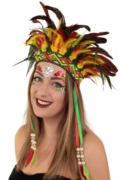Indianen dans veren hoofdtooi Carnaval