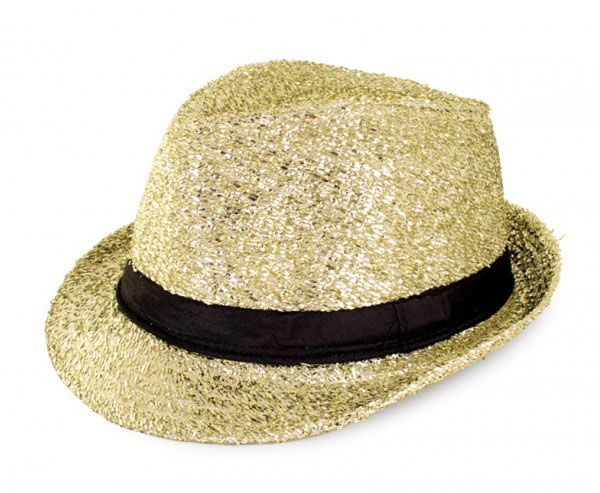 Disco gangster hoedje glitter goud