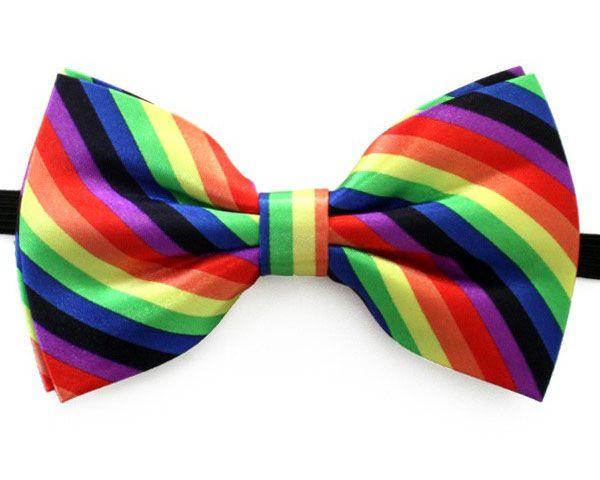 Vlinderstrik luxe regenboog kleuren