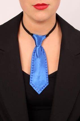 Mini stropdas blauw met Strass-stenen