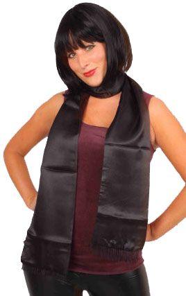 Sjaal van zwart satijn 180cm