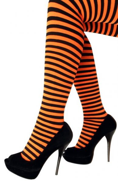 Panty oranje zwart gestreept