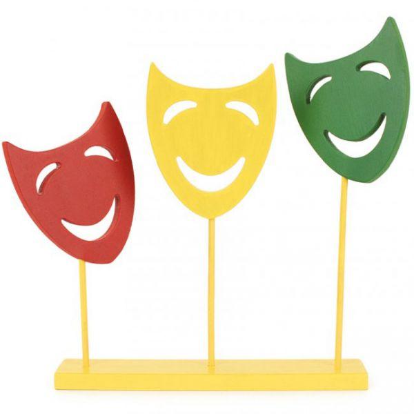 Decoratie plank met 3 maskers op stok