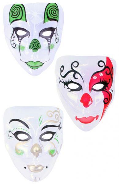 Masker Pierrot gekleurd transparant