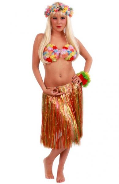 Hawaiiaanse rok kort gekleurd