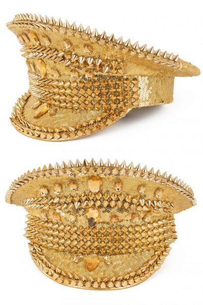 Glimmende Bling Spikes gouden pet