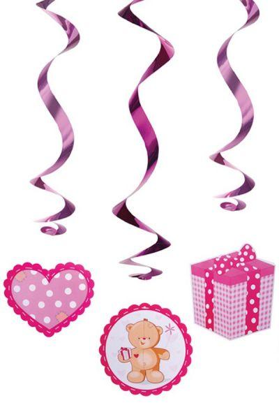 Hangdecoratie swirls teddyberen roze