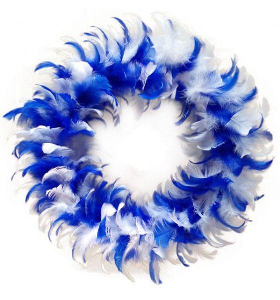 Krans blauw wit van veren feestversiering