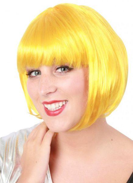 Carnavalspruik Bobline dames pruik geel sensation