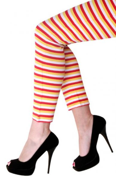 Legging rood wit geel gestreept