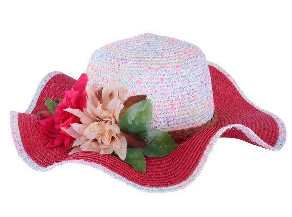 Strandhoed roze wit met band en bloem