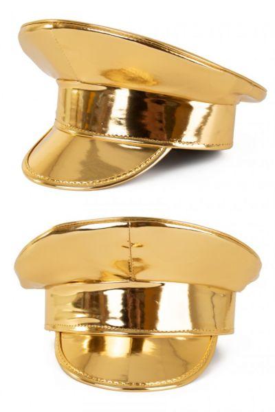 Glimmende gouden lak pet
