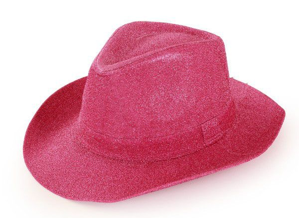 Cowboyhoed Toppers glitter pink