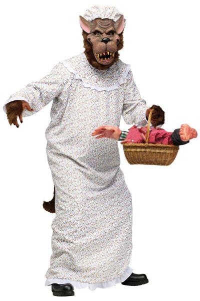 Grappig kostuum - grote boze wolf grootmoeder roodkapje oma