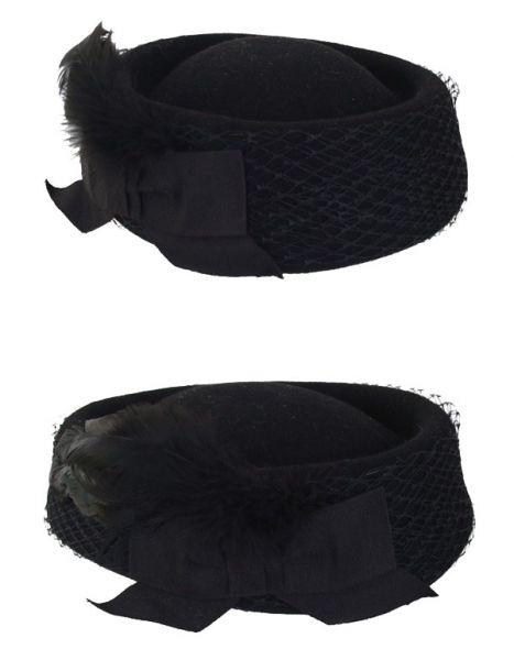 Dameshoed wolvilt zwart laag model met gaas en strik
