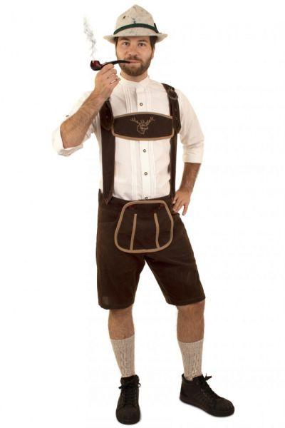 Tyrolean trousers dark brown short suede
