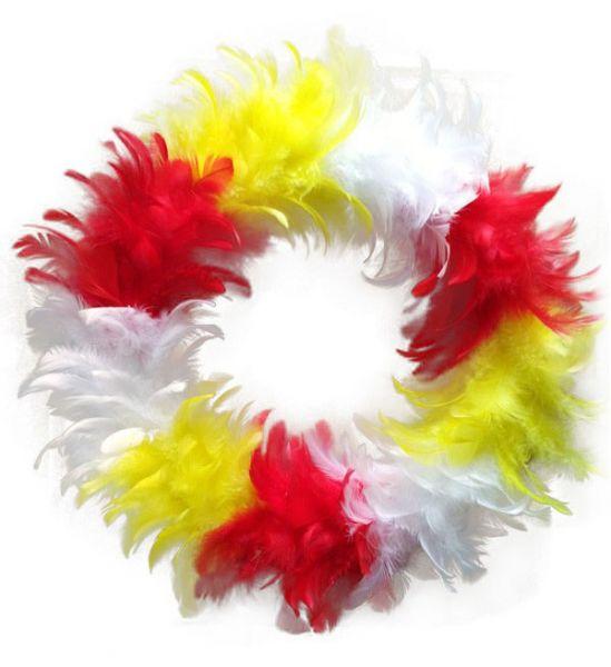 Krans rood wit geel van veren