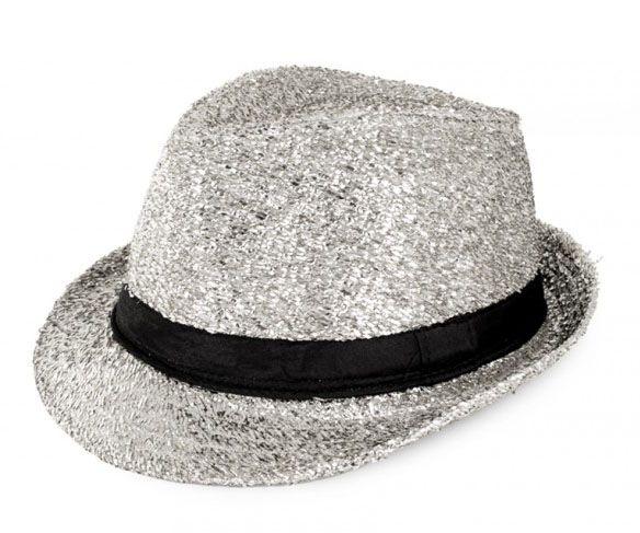 Disco gangster hoedje glitter zilver