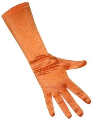 Satijnen handschoenen oranje stretch