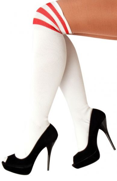 Lange kniekousen wit met 3 rode strepen