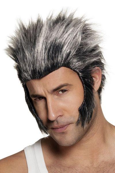 Weerwolf pruik met lange bakkebaarden